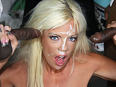 Interracial gangbang in the street! 1 white girl - 10 black monster cocks!