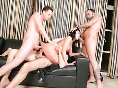 Cecilia Vega's whore holes get rodded in a wild groupie
